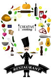 Collection of food ingredients with Chef,Creative Cooking stock photo