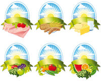 Collection of food labels Royalty Free Stock Images