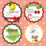 Collection of food labels and badges vector illustration