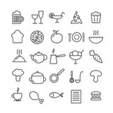 Collection of 25 food linear icons. Kitchen and restaurant thin icons foe web, mobile apps, print design. Vector EPS 10 illustration for design Royalty Free Stock Image