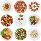Collection of food meals with pizza, salad, pasta, spaghetti and stock image