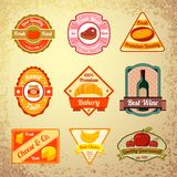 Collection of food stamps or labels Royalty Free Stock Images
