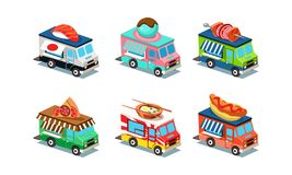Set of food trucks in modern 3D style. Vans with Japanese cuisine, ice-cream, pizza, hot dog and barbecue. Flat vector vector illustration