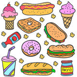 Collection of food various doodles Royalty Free Stock Photo