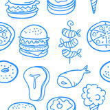 Collection of food various style doodles Stock Images