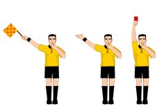 Collection of football referee gestures Royalty Free Stock Image