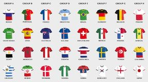 Football jerseys with country flag design Stock Image