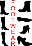 Collection of footwear. Silhouettes, isolated. Vector Illustration Stock Photography