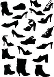 Collection of footwears silhouettes Stock Photography