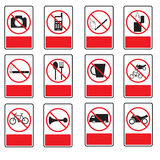 The collection of forbidden signs. The collection of forbidden signs, with several printable versions, isolated on the white background Royalty Free Stock Photo