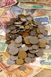 A collection of Foreign Currency. Foreign Currency with selective focus Royalty Free Stock Photography