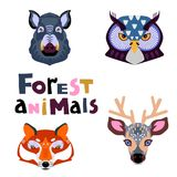 Collection of forest animals. Animal portrait set with flat design. Vector Stock Photo