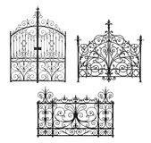 Collection of forged gates and decorative lattice Royalty Free Stock Photos