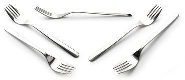 Collection fork Stainless steel isolated over the white. Background Royalty Free Stock Photos