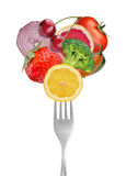 Collection of forks with vegetables and fruits Stock Image