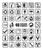 Collection of Square Packaging Symbols in Vector Format. Collection of Forty Square Packaging Symbols in Vector Format Stock Photography