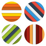 Collection of four badge colorful striped backgrounds Royalty Free Stock Photos