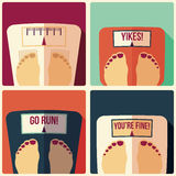 Collection of four bathroom weight scales, flat design Royalty Free Stock Image