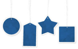 Collection of four blue paper price tags Royalty Free Stock Images