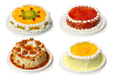 Collection of four cake. With cream Stock Photos