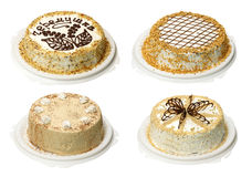 Collection of four cake. With cream Royalty Free Stock Photography