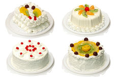 Collection of four cake. With cream Stock Photography