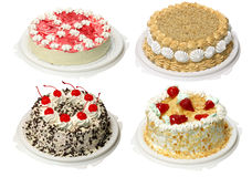 Collection of four cake. With cream Stock Images