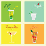 Collection with four coctails: mohito, tequila, cosmopolitan and juice Royalty Free Stock Photo