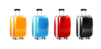 Collection of four color luggage travel case isolated on white  Royalty Free Stock Images