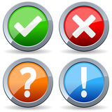 Yes No Question Answer Buttons. Collection of four colorful glossy round metal buttons with yes, no, question and answer symbols. Eps file available Stock Photos