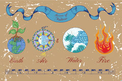 Collection of four colorful natural elements. Colorful hand drawn set with four nature elements on texture background. Symbols of Earth or ground, air, water and Stock Images