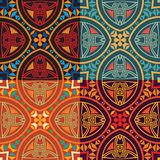 Collection of four colorful tribal ethnic seamless patterns. Set collection of four same colorful tribal ethnic seamless patterns in different colors. Bright Royalty Free Stock Images