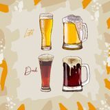 Collection of four dark and light glasses of beer, hand-drawing oktoberfest beer, beer with foam. Vector drawing vector illustration