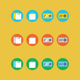 Collection of four different colored icons Stock Photos