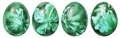 Collection Of Four Easter Eggs Dyed Emerald Green And Decorated With Weed Leaves Imprints Isolated On White Background. Collection of four beautiful, hand Stock Photo