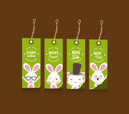 Collection of four Easter gift tags decorated with bunnies Stock Photo