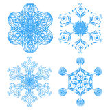 Collection of four elegance snowflakes Stock Images
