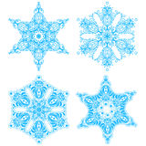 Collection of four elegance snowflakes Royalty Free Stock Photos
