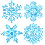 Collection of four elegance snowflakes Stock Photos