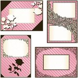 Collection of four elegant pink labels Royalty Free Stock Image