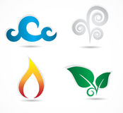 Collection of four elements icons. Royalty Free Stock Photography