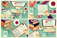 Collection of four flat design work desks, stationery Royalty Free Stock Photo