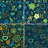 Collection of four floral patterns (seamlessly tiling). Floral p Royalty Free Stock Image