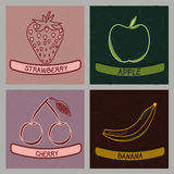 Collection of Four Fruit Flavor Labels - Vector Illustration. Collection of Four Fruit Flavor Labels  Vector Illustration Stock Image