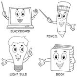 Coloring Learning Characters. Collection of four funny learning cartoon characters (blackboard, pencil, light bulb, book). Useful also for educational or Royalty Free Stock Images