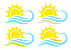 Set Of Four Icons Sun And Waves Abstract Landscapes stock illustration