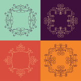 Collection of four monogram. S.  colorfu monogram on a colorful background. Monogram of lines, curves, intersections resemble the branches of plants Stock Photos