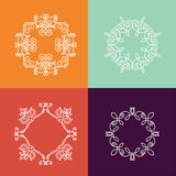 Collection of four monogram. S. White monogram on a colorful background. Monogram of lines, curves, intersections resemble the branches of plants Stock Photography