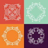 Collection of four monogram. S. White monogram on a colorful background. Monogram of lines, curves, intersections resemble the branches of plants Royalty Free Stock Image