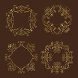 Collection of four monograms. Gold design pattern on a brown background. Traced vegetable theme lines, curves, intersections resemble the branches of plants Royalty Free Stock Photography